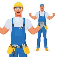 Excited handyman in bib overalls, hard hat and protective eyewear celebrating success with raised hands. Full size under clipping mask. Vector cartoon character isolated on white background.