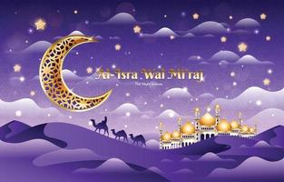 Isra Miraj The Night Journey Background vector