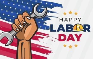 trabajador sosteniendo una llave celebrando el día del trabajo vector