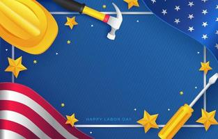 Labor Day Background with Worker Equipment and Waving US Flag vector