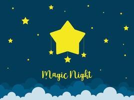 escena nocturna con estrellas. tarjeta de buenas noches cielo. vector