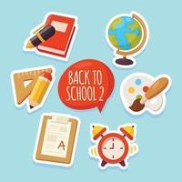 Set of Back To School Sticker vector