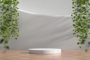 Escaparate de podio blanco abstracto para exhibición de productos con hiedra, render 3d