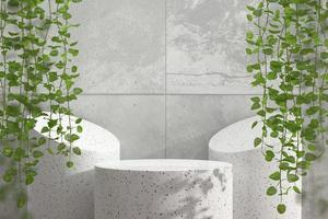 Abstract marble podium showcase for product display with ivy, 3d render