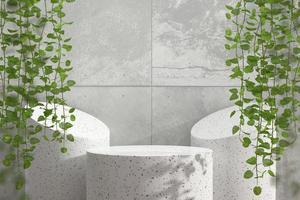 Escaparate de podio de mármol abstracto para exhibición de productos con hiedra, render 3d