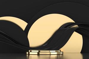 Podio de escenario dorado de lujo abstracto, representación 3d