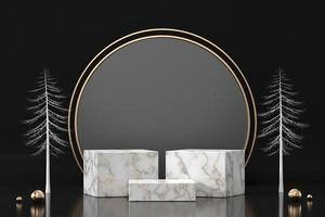 Podio de mármol para escaparate de exhibición de productos en fondo negro, representación 3d