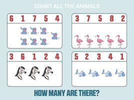 juego de conteo para niños en edad preescolar. educación en casa. juego matemático educativo. vector