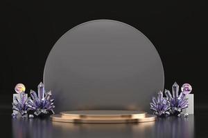 Podio de escenario de exhibición de producto dorado abstracto con cristal, telón de fondo de representación 3d