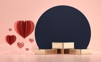 plataforma del podio del escenario dorado del día de san valentín con decoración de corazones foto