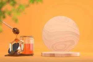 Honey syrup and wooden platform banner backdrop, 3D render