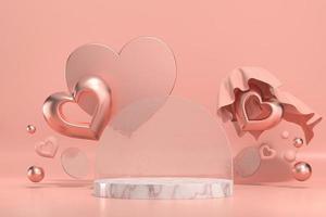 maqueta del podio del escenario del día de san valentín con exhibición de productos de corazón foto
