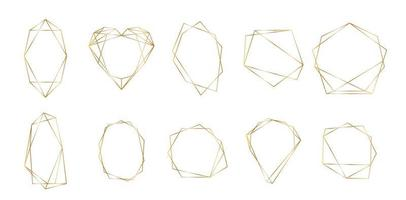 Gold polygonal frame with golden glitter triangles, geometric, diamond shapes. vector