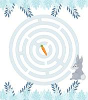 Maze game for homeschooling kids. Circular maze puzzle task. Winter leisure riddle shape, search right path. vector