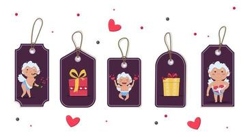 Valentine day cupid love playful angel tag. Boy or girl with gift box discount tag. vector