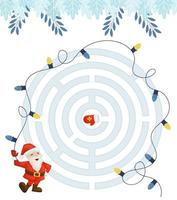 Maze game for christmas homeschooling kids. Circular maze puzzle task. Winter leisure riddle shape, search right path. vector