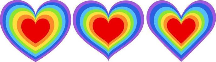 Set of different shapes of rainbow heart vector