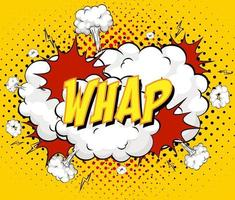 WHAP text on comic cloud explosion on yellow background vector