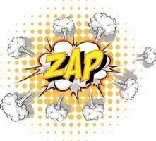 Comic speech bubble with zap text vector