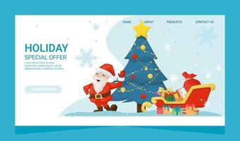 Christmas special offer landing page card with gifts and santa claus. Greeting new year party banner. vector