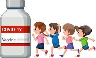 personaje de dibujos animados de muchos niños con vial de vacuna vector