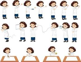 Set of a scientist girl doing different experiment vector