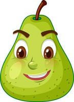 Green pear cartoon character with happy face expression on white background vector