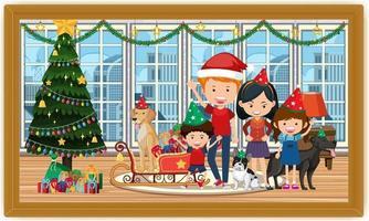 familia feliz en traje de navidad en la foto de la escena de la sala en un marco vector