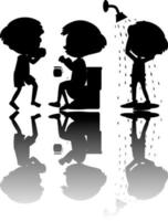 Set of kids silhouette with reflex on white background