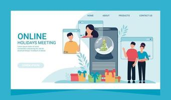 Online Christmas celebration landing page and people phone screen. vector