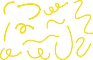 Different types of yellow hand drawn curved arrows on white background