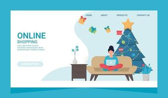 Christmas Eshopping Online Business Promotion Shopaholic Concept. Woman with laptop on couch. vector