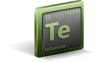 Tellurium chemical element. Chemical symbol with atomic number and atomic mass.