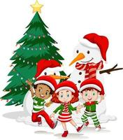Children wear Christmas costume cartoon character with snowman on white background vector