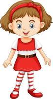 Cute girl in christmas costume cartoon character vector