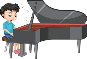 Character of a boy playing piano on white background vector
