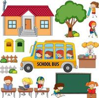 School set with many student cartoon character vector