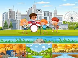 Four different scenes with children cartoon character vector