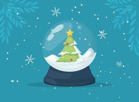Christmas Snow globe with falling snow and christmas tree, vector illustration.
