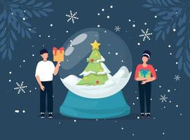 Christmas concept. People Snow globe with falling snow and christmas tree, vector illustration.