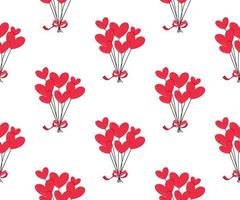 Red heart balloons seamless pattern. vector