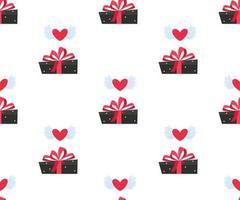 Valentine love gift box seamless pattern. vector