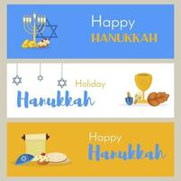 Judaism church traditional banner jewish hanukkah vector