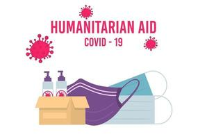 Humanitarian Support, Goodwill Mission in Suffering from Coronavirus Epidemic Country, Intentional Help, Supplying Masks for China Concept. vector