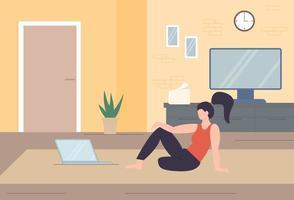 Personaje independiente trabajando en casa, trabajo desde casa, autónomo, oficina en casa, trabajo en casa, libertad ilustración vectorial conceptual.