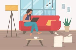 Freelance character working at home, work from home, self employed, home office, work at home, freedom conceptual vector illustration.