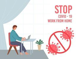Stay home during the coronavirus epidemic. Staying at home in self quarantine, protection from virus. vector
