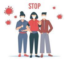 detener el coronavirus. Ilustración de vector de brote de covid-19. personas que usan mascarilla.