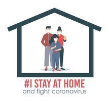 Me quedo en casa, campaña de concienciación en las redes sociales y familia de prevención del coronavirus que se quedan juntos en casa. vector