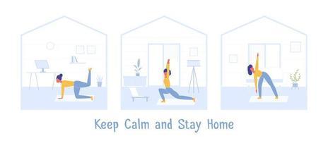 ejercicio deportivo en casa. mantén la calma durante la cuarentena vector